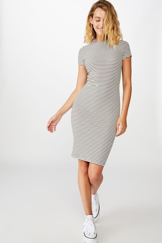 Essential Short Sleeve Bodycon Midi Dress, LULU STRIPE WHITE/RAVEN RIB