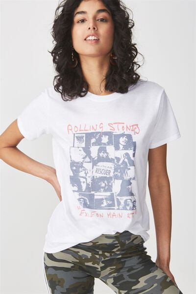 Tbar Fox Graphic T Shirt, LCN ROLLING STONES EXILE RESCUE/WHITE
