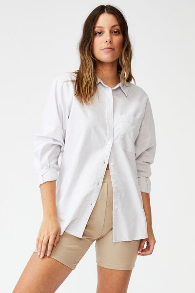Preppy Shirt, KATIE PINSTRIPE GREY