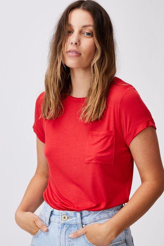 Kathleen Short Sleeve Top, LUCKY RED