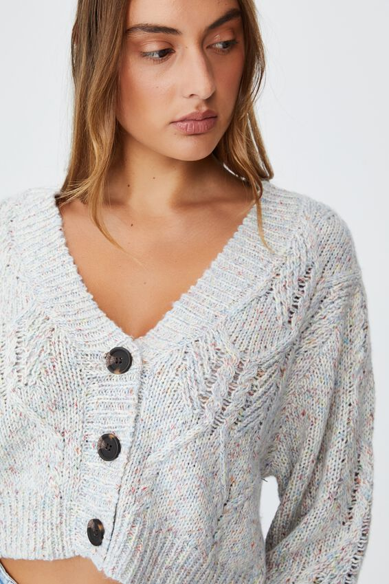 Twisted Sister Rib Button Cardigan, BLUE FROST MULTI