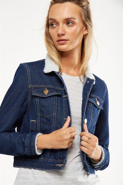 Girlfriend Sherpa Denim Jacket, DARK BLUE