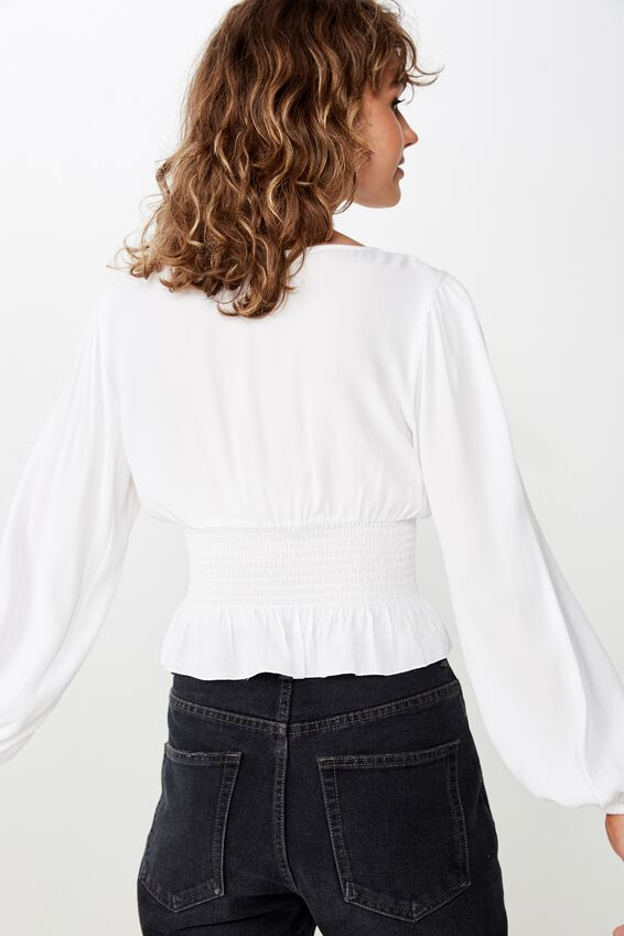 Mishay Shirred Peplum L/S Top, WHITE