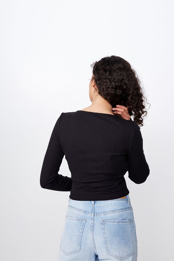 Lylah Henley Long Sleeve, BLACK