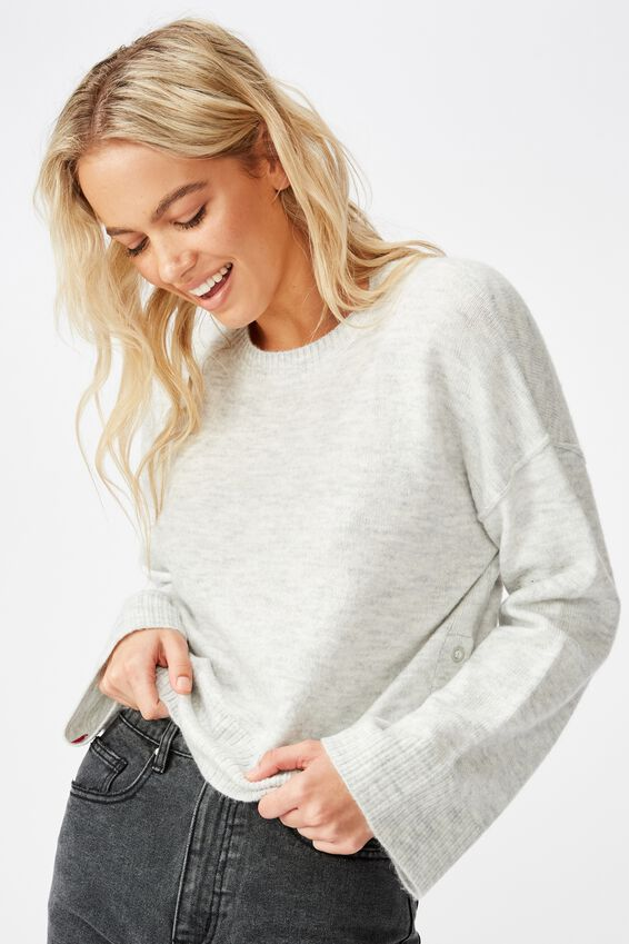 Side Button Pullover, SILVER MARLE