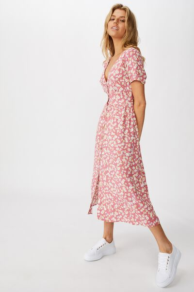 Woven Clover Short Sleeve Midi Dress, LILY DITSY SUMMER CASSIS