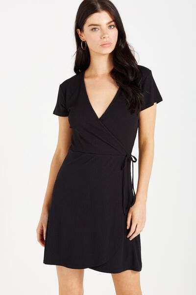 Sophia Short Sleeve Wrap Dress, BLACK