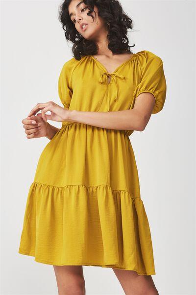 Woven Satin Button Up Tea Dress, GOLDEN PALM