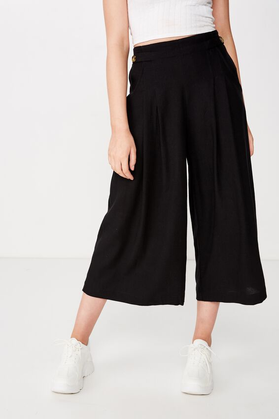 Luna Button Culotte, BLACK