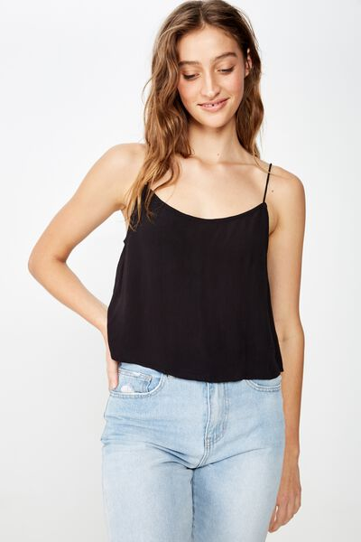 Astrid Cropped Scoop Neck Cami, BLACK