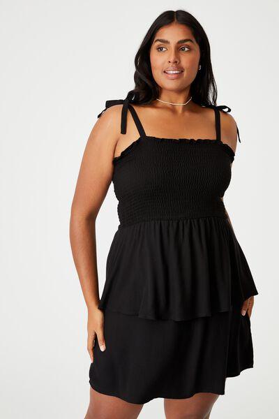 Curve Woven Emma Mini Tiered Dress, BLACK