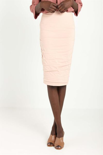 Luxe Rouched Midi Skirt, MUSK