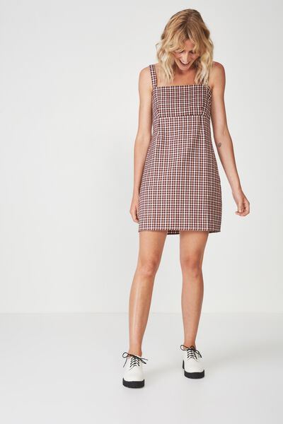 Woven Polly Pinafore Dress, MILLIE HOUNDSTOOTH ROEBUCK