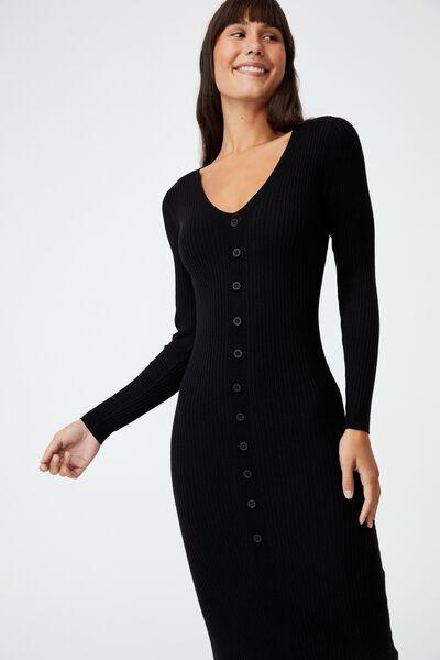 Tommy Long Sleeve Button Through Knit Midi Dress, BLACK