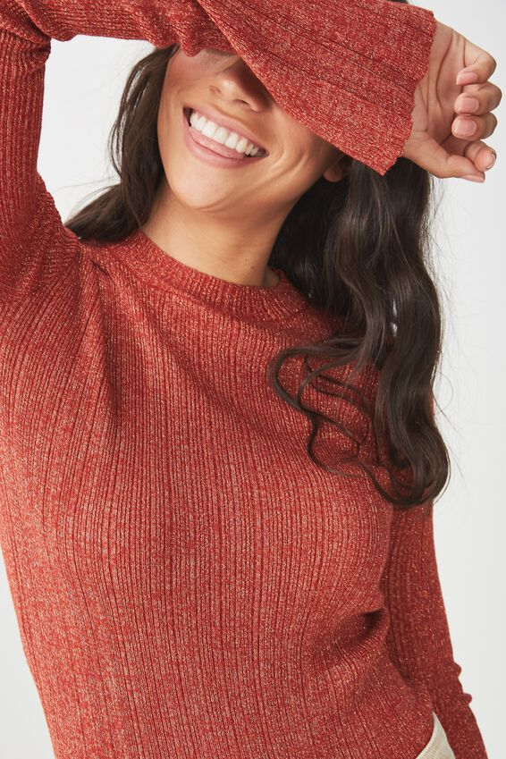 Metallic Close To Body Pullover, RUST