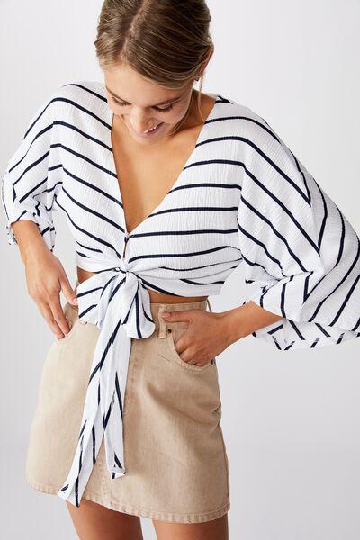 Jude Kimono Sleeve Top, HARLOW STRIPE WHITE/MOONLIGHT