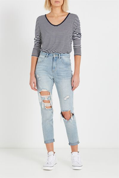 High Rise Relaxed 90S Jean, BLUE STONE CUFFED HEM