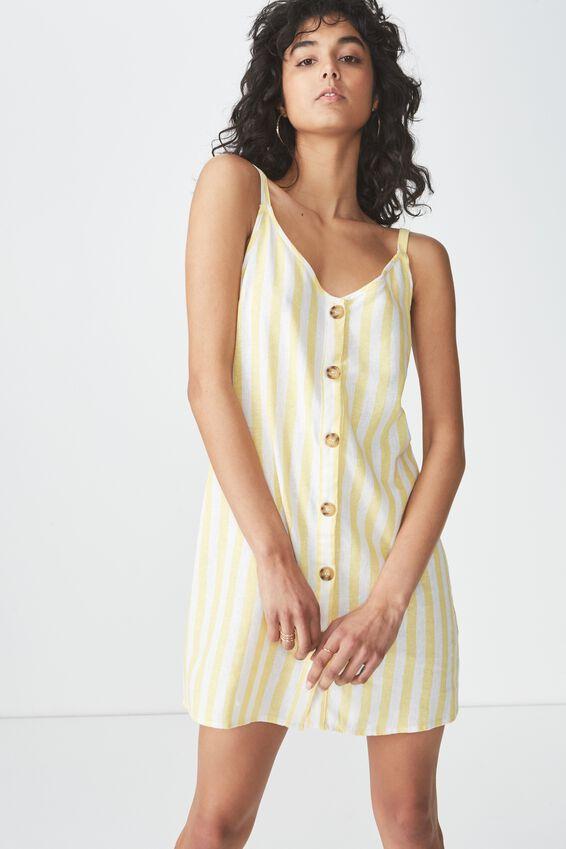 Woven Margot Slip Dress, BUTTON THROUGH CANDY STRIPE DANDELION/WHITE STRIPE