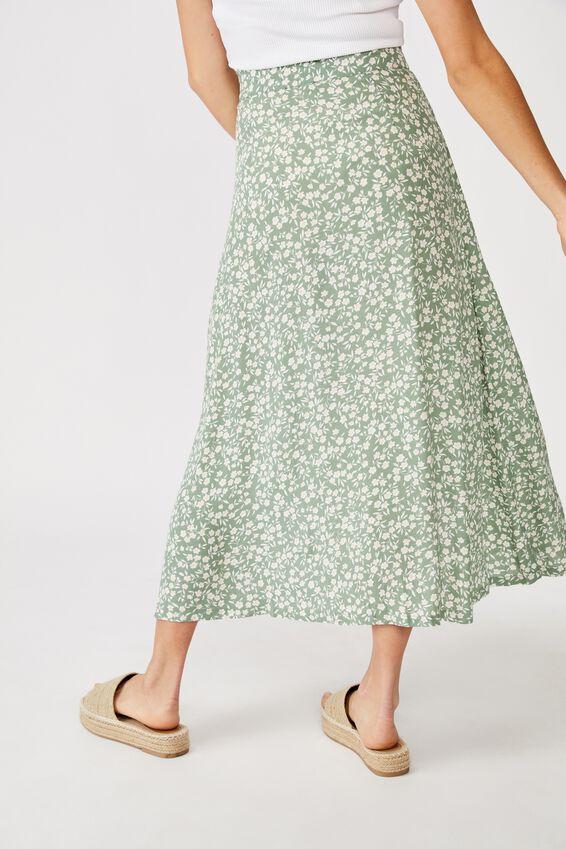 Summer Button Midi Skirt, TAYLAH DITSY GREENBAY