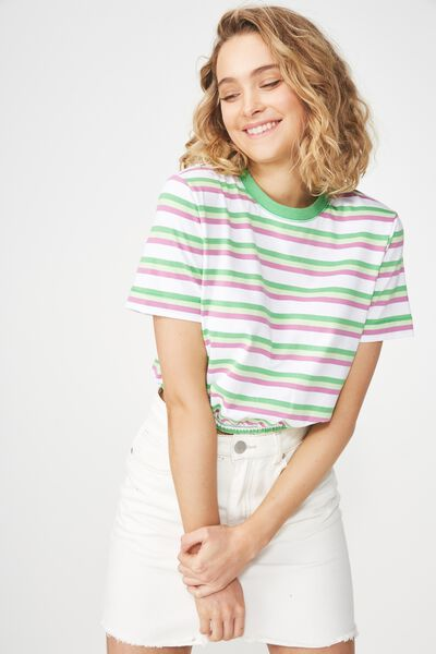 Ivy Short Sleeve Waisted Top, SUMMER MULTI STRIPE WHITE/RETRO GREEN/WASABI/BODAC