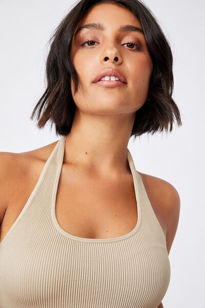 Stacey Seamless Halter Neck Top, VINTAGE TAUPE