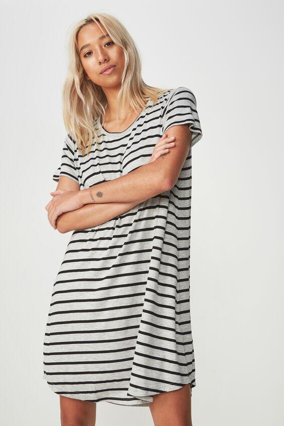 Tina Tshirt Dress 2, MANDY BLACK/GREY MARLE STRIPE