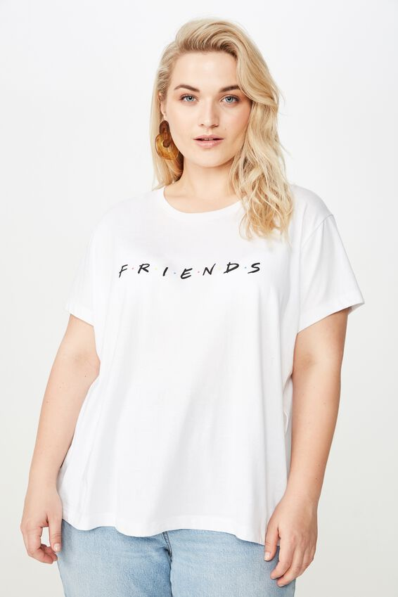Curve Graphic License Tee, LCN WB FRIENDS LOGO/WHITE