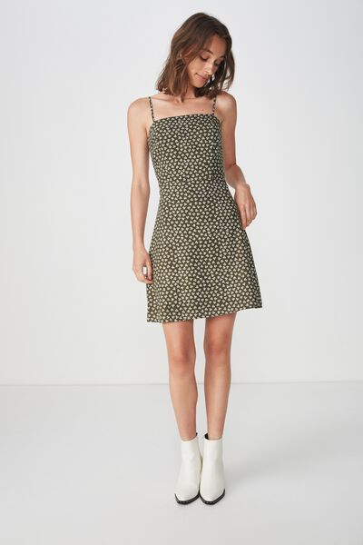 Woven Krissy Dress, JESSIE DITSY KHAKI -L
