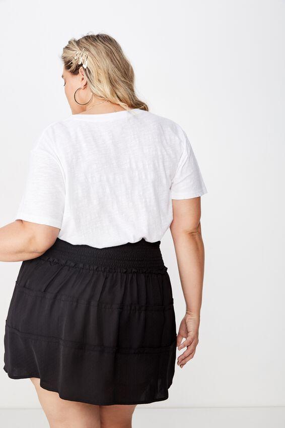 Curve Shirred Panel Skirt, BLACK