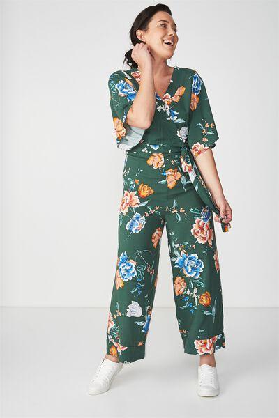 Woven Kassie Kimono Sleeve Jumpsuit, PENNY TREKKING GREEN
