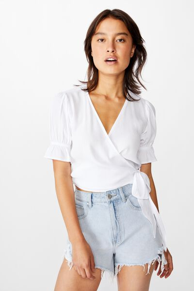 Poppy Short Sleeve Wrap Top, WHITE