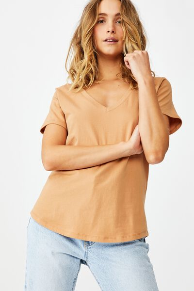 The One Fitted V Tee, CAMEL