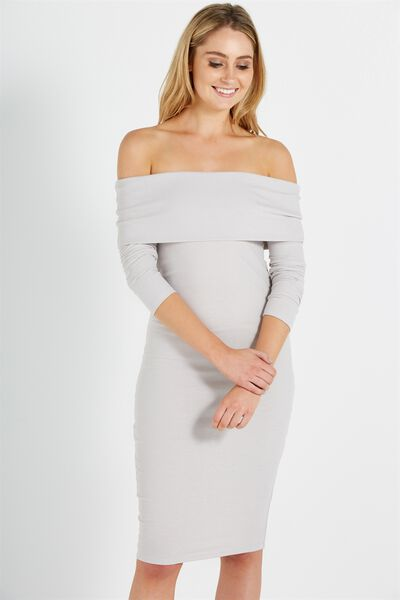 Alisa Long Sleeve Off The Shoulder Dress, ICE GREY TWIST