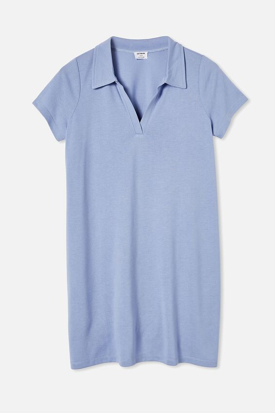 Tina Polo Tshirt Dress, VINTAGE BLUE