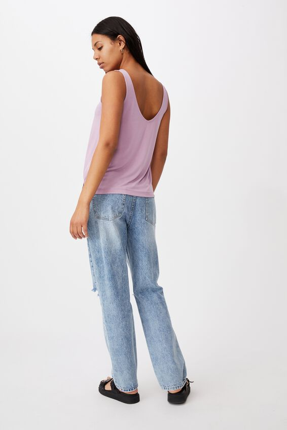 Tia Scooped High Low Tank, SOFT MAUVE