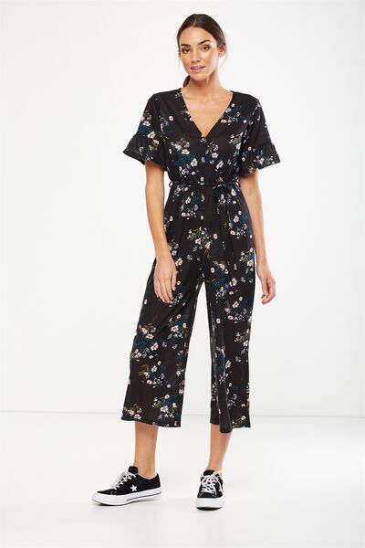 Josie Short Sleeve Jumpsuit, HOLLY FLORAL BLACK
