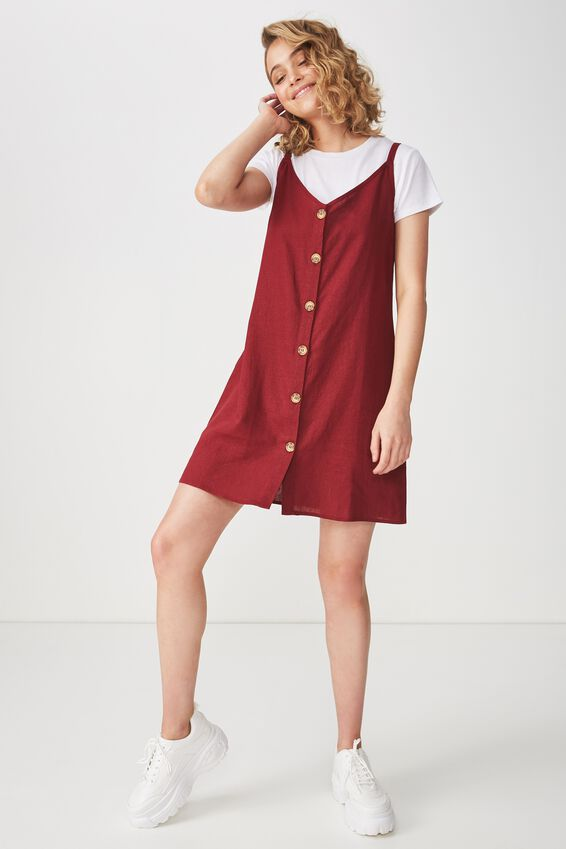 Woven Margot Slip Dress, BUTTON THROUGH CABERNET