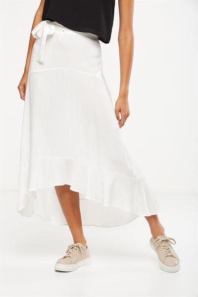 Woven Carlette Maxi Skirt, WHITE TEXTURE