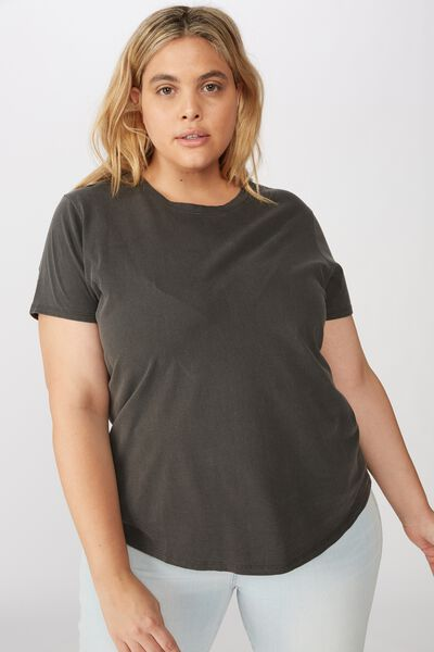 Curve The One Crew Tee, WASHED VINTAGE BLACK
