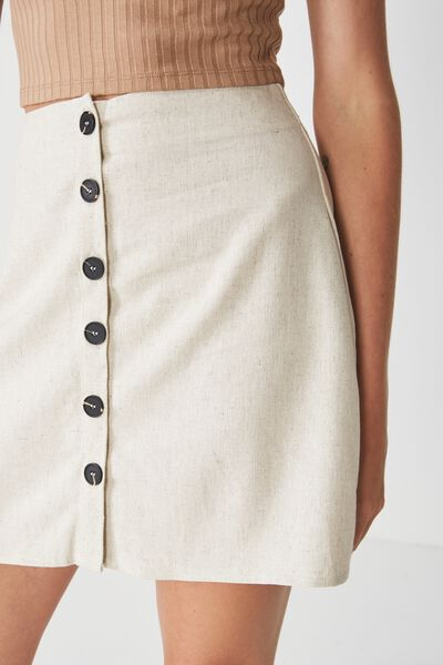 Woven Medina Mini Skirt, LATTE MARLE