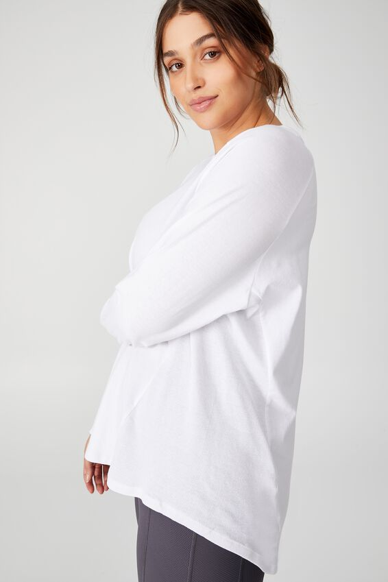 Curve Active Rib Long Sleeve Top, WHITE
