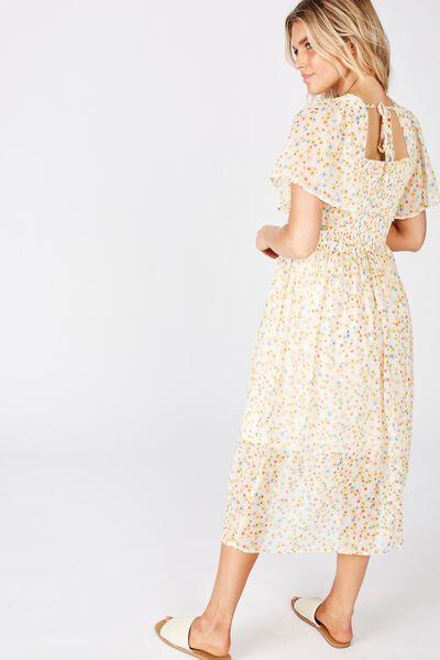 Woven Saffron Shirred Flutter Sleeve Midi Dress, LILY DITSY CANNOLI CREAM