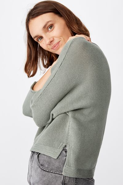 Summer Step Hem Pullover, CHINOIS GREEN