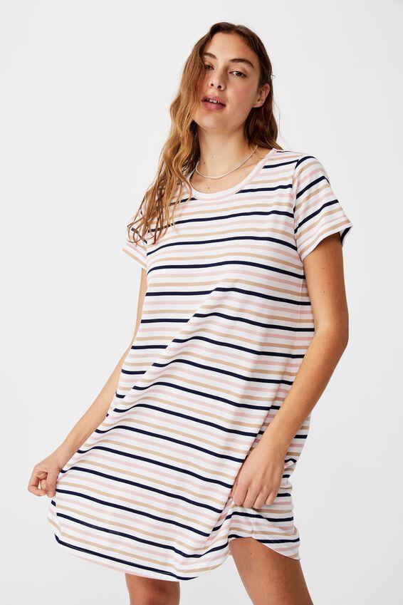 Tina Tshirt Dress 2, SARA STRIPE MULTI