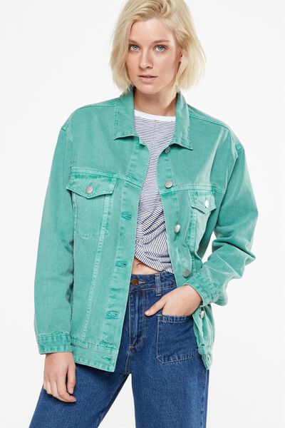 Boyfriend Trucker Denim Jacket, CANTON GREEN