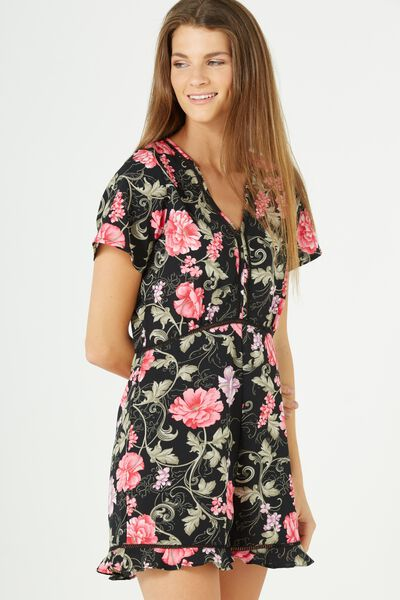 Woven Millie Playsuit, ROSE ARMY BLACK