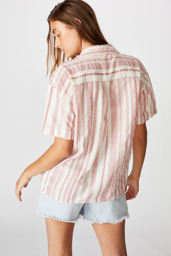 Oversize Resort Shirt, CASSIE STRIPE ROSE MUSK