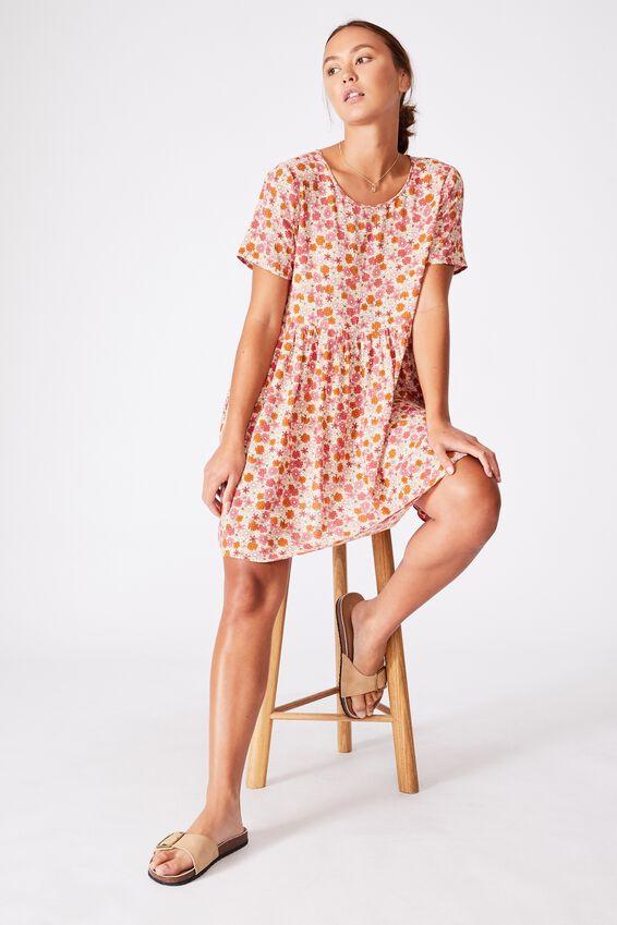 The Good Times Babydoll Mini Dress, GIA MINI DITSY DUSK PINK