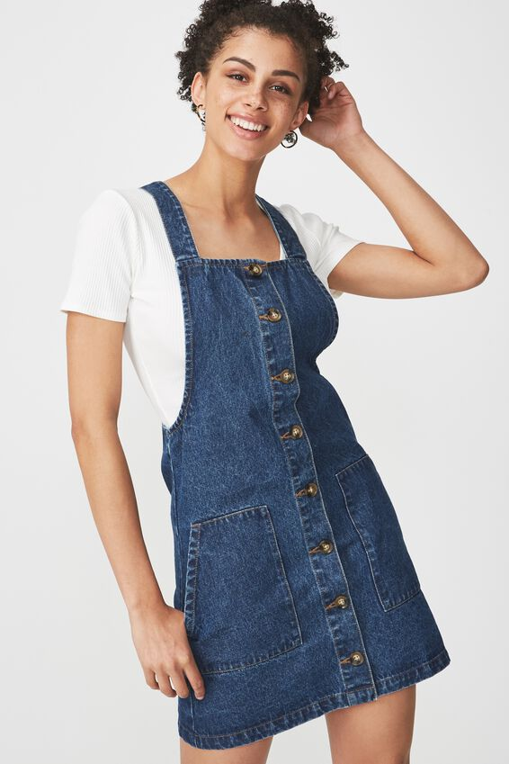 Denim Button Through Dress, MID BLUE 2