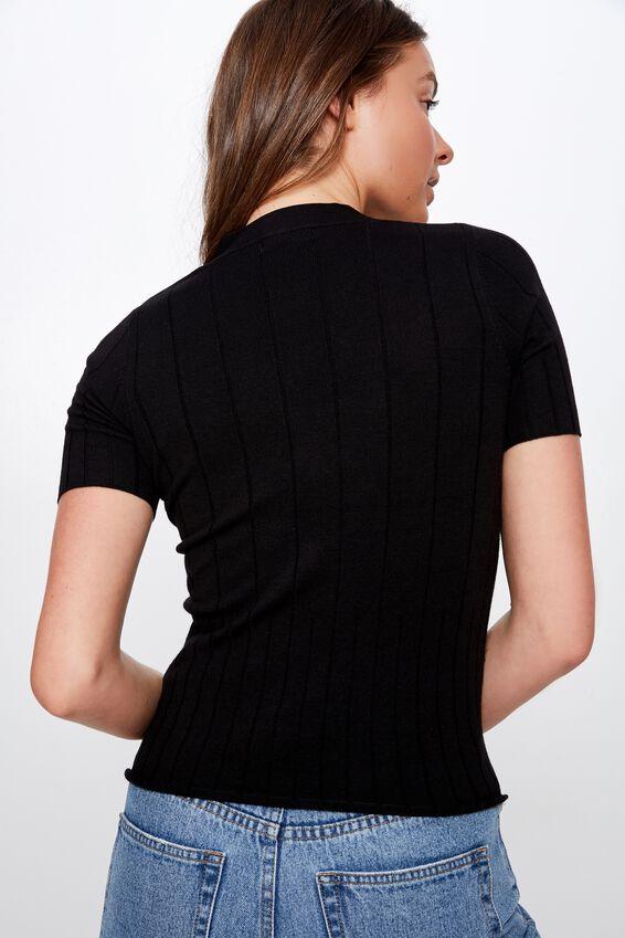 Quinnie Half Sleeve Button Through Cardi, BLACK